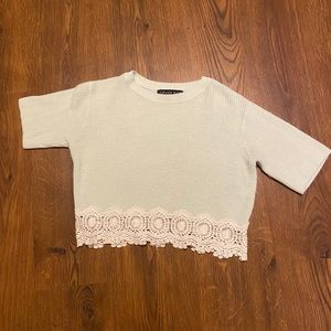 TopShop Knitted Short Sleeve Sweater (Petite)